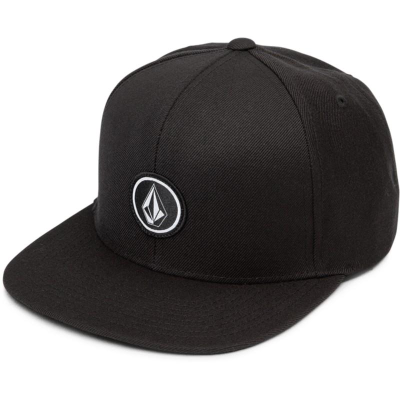 Volcom Flat Brim Black Quarter Twill Black Snapback Cap  Shop Online ... fea6bef7512