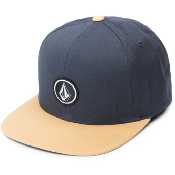 Volcom Flat Brim Midnight Blue Quarter Twill Navy Blue Snapback Cap with Brown Visor
