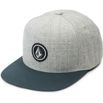 Volcom Flat Brim Navy Green Quarter Twill Grey Snapback Cap with Green Visor