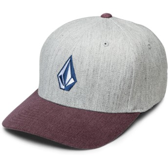 Volcom Curved Brim Cabernet Full Stone Hthr Xfit Grey Fitted Cap with Red Visor