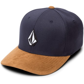 Volcom Curved Brim Midnight Blue Full Stone Hthr Xfit Navy Blue Fitted Cap with Brown Visor