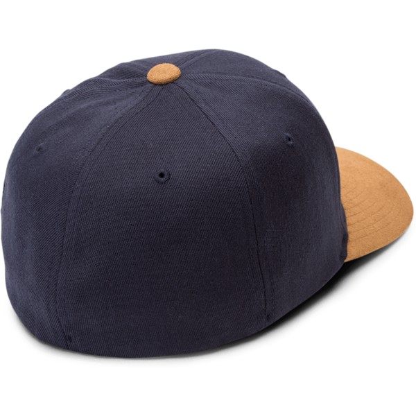 volcom-curved-brim-midnight-blue-full-stone-hthr-xfit-navy-blue-fitted-cap-with-brown-visor