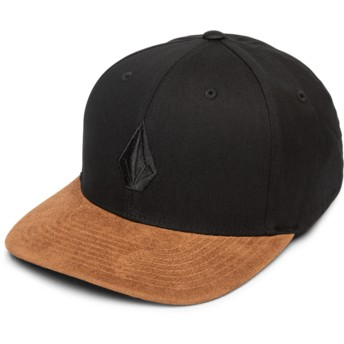 Volcom Curved Brim Mud Full Stone Hthr Xfit Black Fitted Cap with Brown Visor
