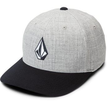 Volcom Curved Brim Navy Heather Full Stone Hthr Xfit Grey Fitted Cap with Navy Blue Visor