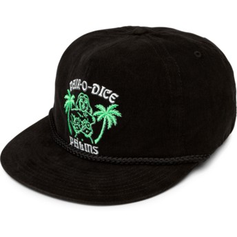 Volcom Flat Brim Black Pair-O-Dice Black Snapback Cap
