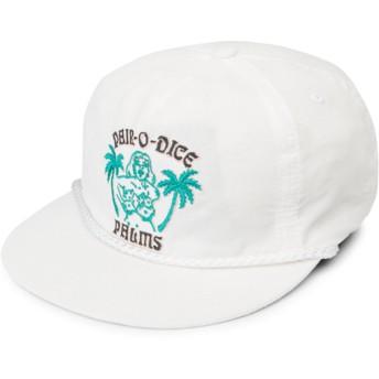 Volcom Flat Brim White Pair-O-Dice White Snapback Cap
