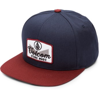 Volcom Flat Brim Crimson Cresticle Navy Blue Snapback Cap with Red Visor