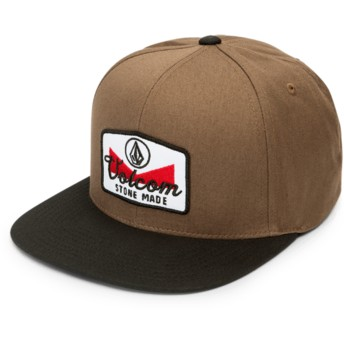Volcom Flat Brim Hazelnut Cresticle Brown Snapback Cap with Black Visor
