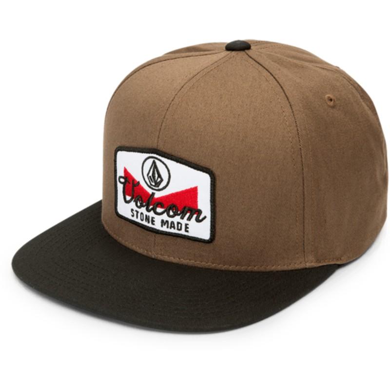 Volcom Flat Brim Hazelnut Cresticle Brown Snapback Cap with Black ... 3c1cfdbcecf