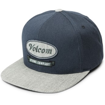 Volcom Flat Brim Midnight Blue Cresticle Navy Blue Snapback Cap with Grey Visor