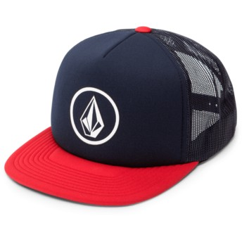 Volcom Engine Red Full Frontal Cheese Navy Blue Trucker Hat with Red Visor