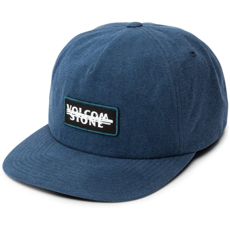 3f8ff3c5644 Volcom Flat Brim Navy Scribble Stone Navy Blue Snapback Cap  Shop ...
