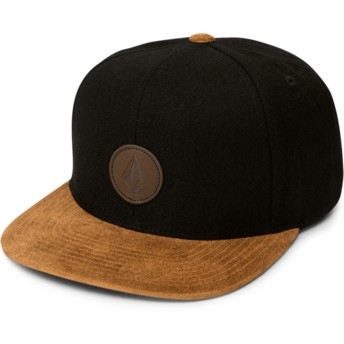 Volcom Flat Brim Charred Quarter Fabric Black Snapback Cap with Brown Visor
