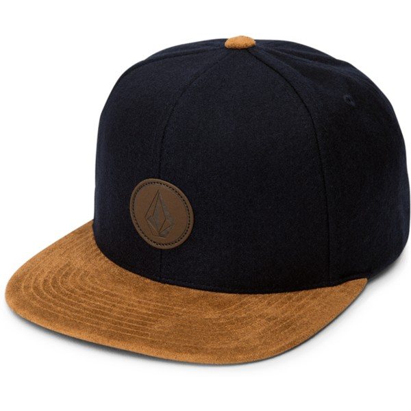 volcom-flat-brim-camper-blue-quarter-fabric-navy-blue-snapback-cap-with-brown-visor
