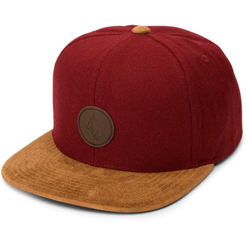 ce6228690c7 ... discount code for volcom flat brim crimson quarter fabric red snapback  78951 2293a