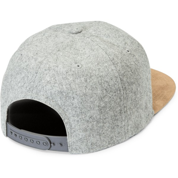volcom-flat-brim-grey-combo-quarter-fabric-grey-snapback-cap-with-brown-visor