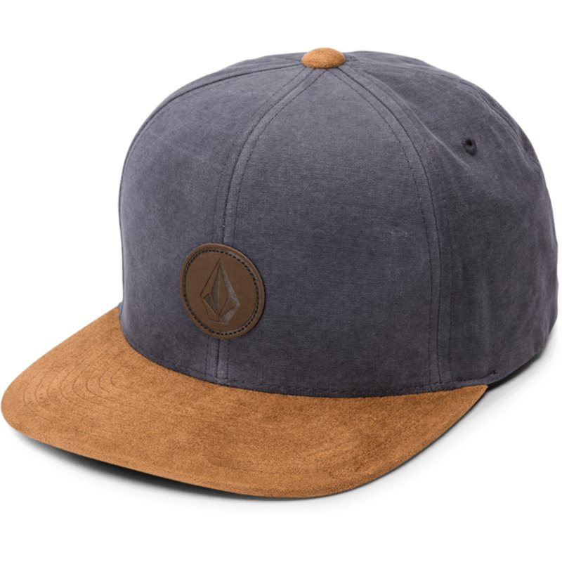 new york c514c 083bc ... low cost volcom flat brim midnight blue quarter fabric navy blue snapback  cap with brown visor ...