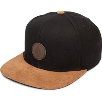 Volcom Flat Brim Vintage Black Quarter Fabric Black Snapback Cap with Brown Visor