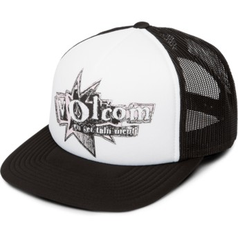 Volcom White Stonar Waves White Trucker Hat with Black Visor