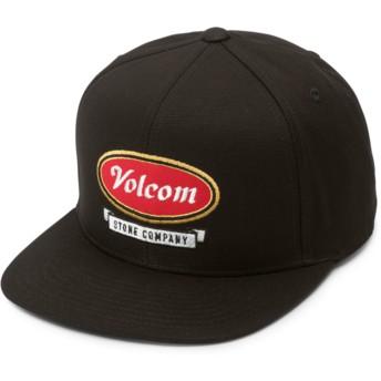 Volcom Flat Brim Youth Engine Red Cresticle Black Snapback Cap