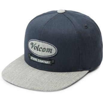Volcom Flat Brim Youth Midnight Blue Cresticle Navy Blue Snapback Cap with Grey Visor