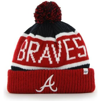 47 Brand Atlanta Braves MLB Cuff Knit Calgary Red and Navy Blue Beanie with Pompom