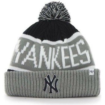 47 Brand New York Yankees MLB Cuff Knit Calgary Grey and Navy Blue Beanie with Pompom