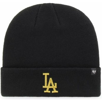 47 Brand Gold Logo Los Angeles Dodgers MLB Cuff Knit Metallic Black Beanie