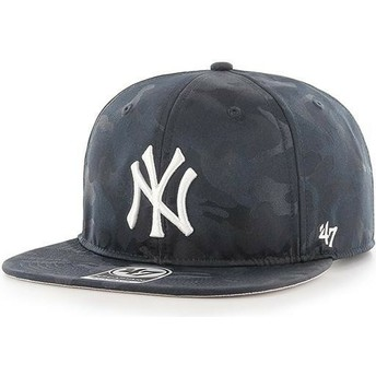 47 Brand Flat Brim New York Yankees MLB Captain Jigsaw Navy Blue Camouflage Snapback Cap