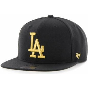47 Brand Flat Brim Gold Logo Los Angeles Dodgers MLB Captain Metalivise Black Snapback Cap