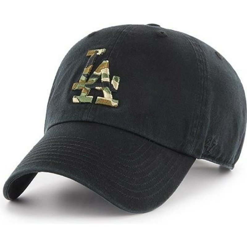 47-brand-curved-brim-camouflage-logo-los-angeles-dodgers-mlb-clean-up-camfill-black-cap