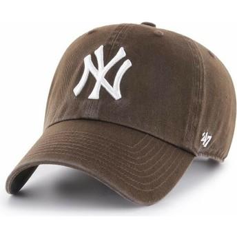 47 Brand Curved Brim New York Yankees MLB Clean Up Brown Cap