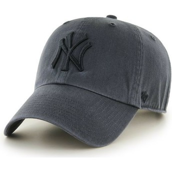 47 Brand Curved Brim Black Logo New York Yankees MLB Clean Up Black Cap