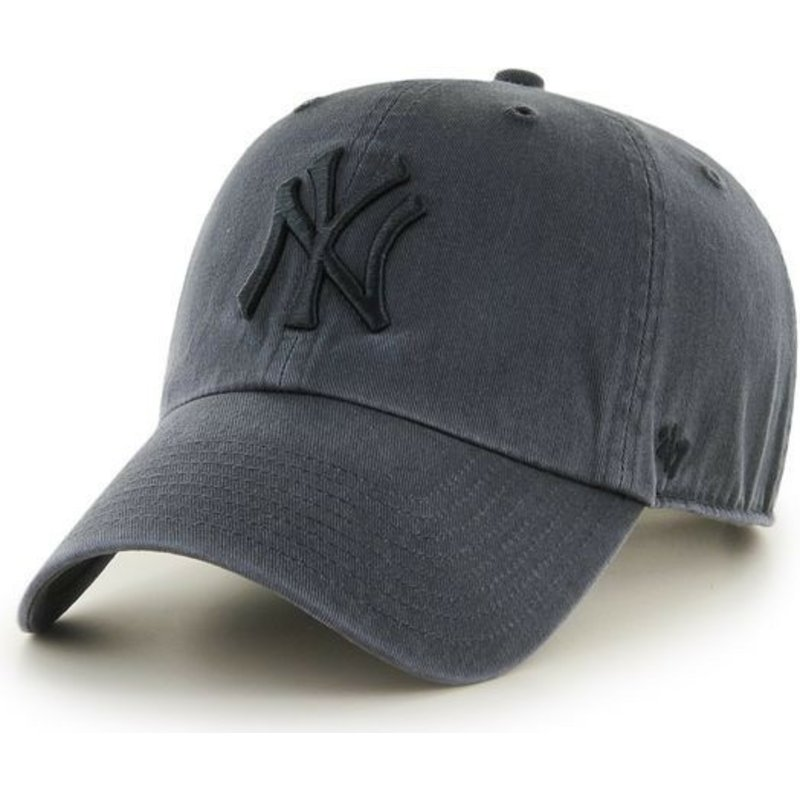 9f57c80189a41 47 Brand Curved Brim Black Logo New York Yankees MLB Clean Up Black ...