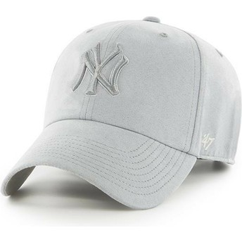 47 Brand Curved Brim Grey Logo New York Yankees MLB Clean Up Ultra Basic Grey Cap