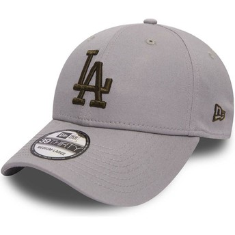 New Era Curved Brim Gold Logo 39THIRTY Essential Los Angeles Dodgers MLB Grey Fitted Cap
