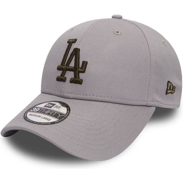 new-era-curved-brim-gold-logo-39thirty-essential-los-angeles-dodgers-mlb-grey-fitted-cap