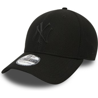New Era Curved Brim Youth Black Logo 39THIRTY Rubber Prime New York Yankees MLB Black Fitted Cap