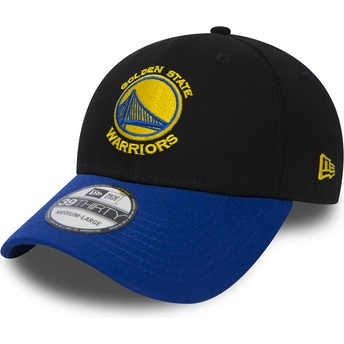 New Era Curved Brim 39THIRTY Black Base Golden State Warriors NBA Black and Blue Fitted Cap