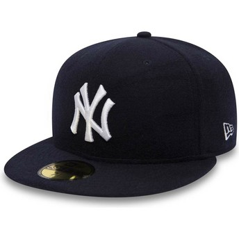 New Era Flat Brim 59FIFTY Camel Hair New York Yankees MLB Navy Blue Fitted Cap