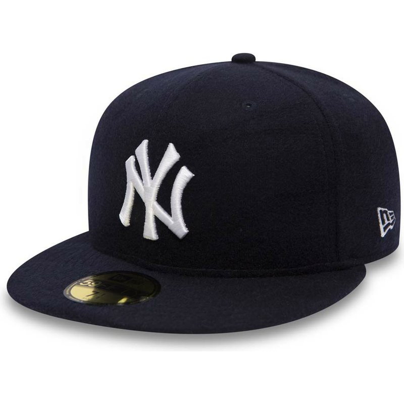 New Era Flat Brim 59FIFTY Camel Hair New York Yankees MLB Navy Blue ... 0c68e20bad4