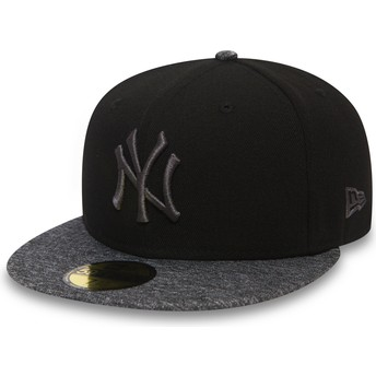 New Era Flat Brim Grey Logo 59FIFTY Grey Collection New York Yankees MLB Black Fitted Cap with Grey Visor