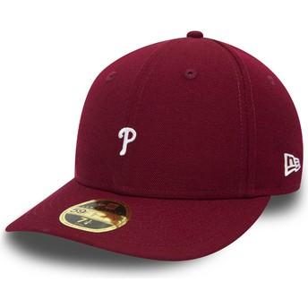 New Era Curved Brim 59FIFTY Low Profile Mini Logo Philadelphia Phillies MLB Purple Fitted Cap