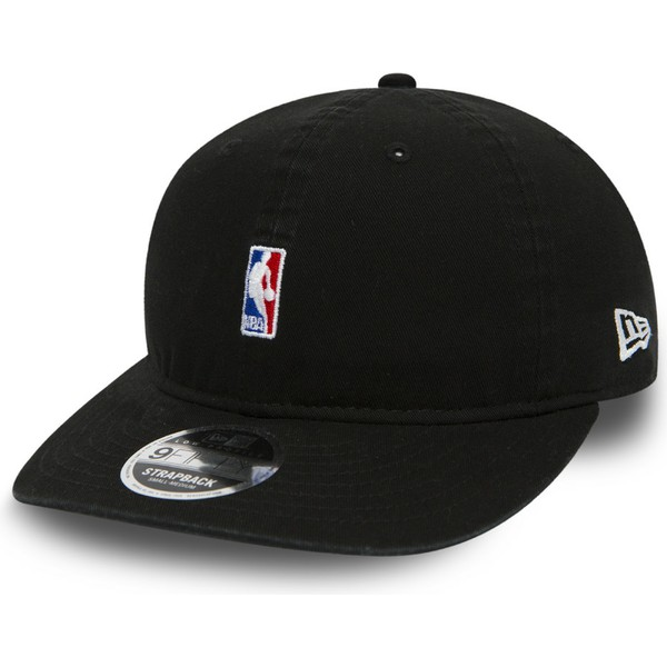 new-era-curved-brim-youth-9fifty-low-profile-logo-nba-black-adjustable-cap