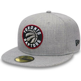 New Era Flat Brim 59FIFTY Heather Toronto Raptors NBA Grey Fitted Cap