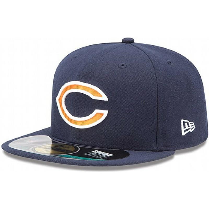 c3d312912 New Era Flat Brim 59FIFTY On Field Chicago Bears NFL Navy Blue ...