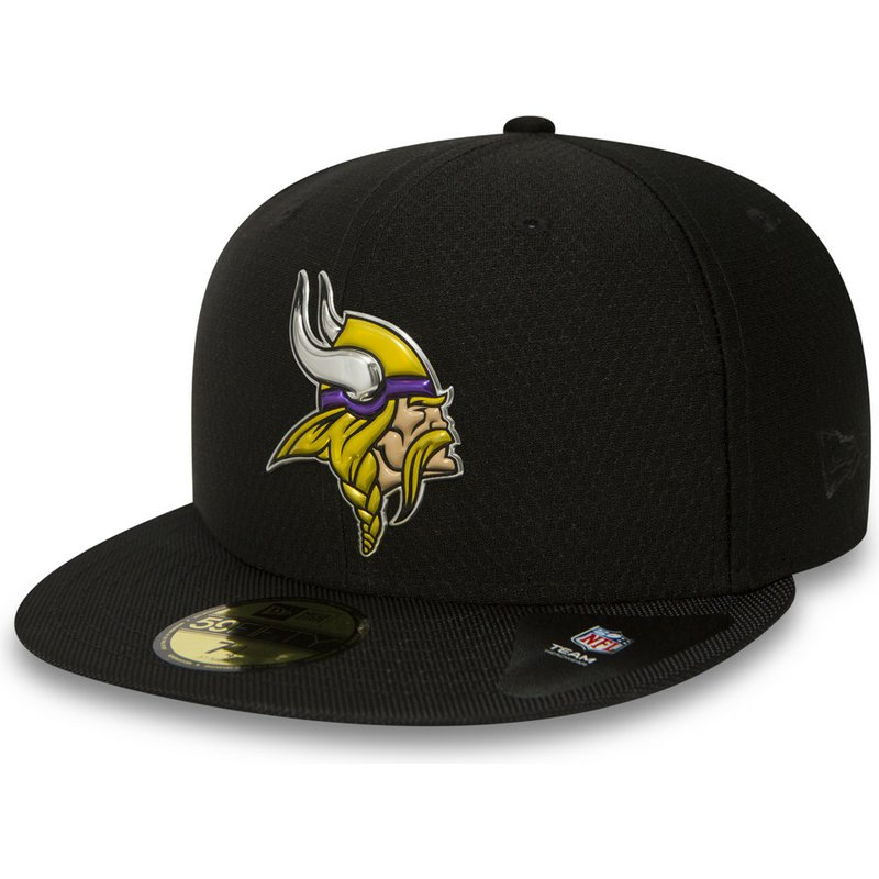 New Era Flat Brim 59FIFTY Black Coll Minnesota Vikings NFL Black Fitted Cap   Shop Online at Caphunters e2f0363ccd7