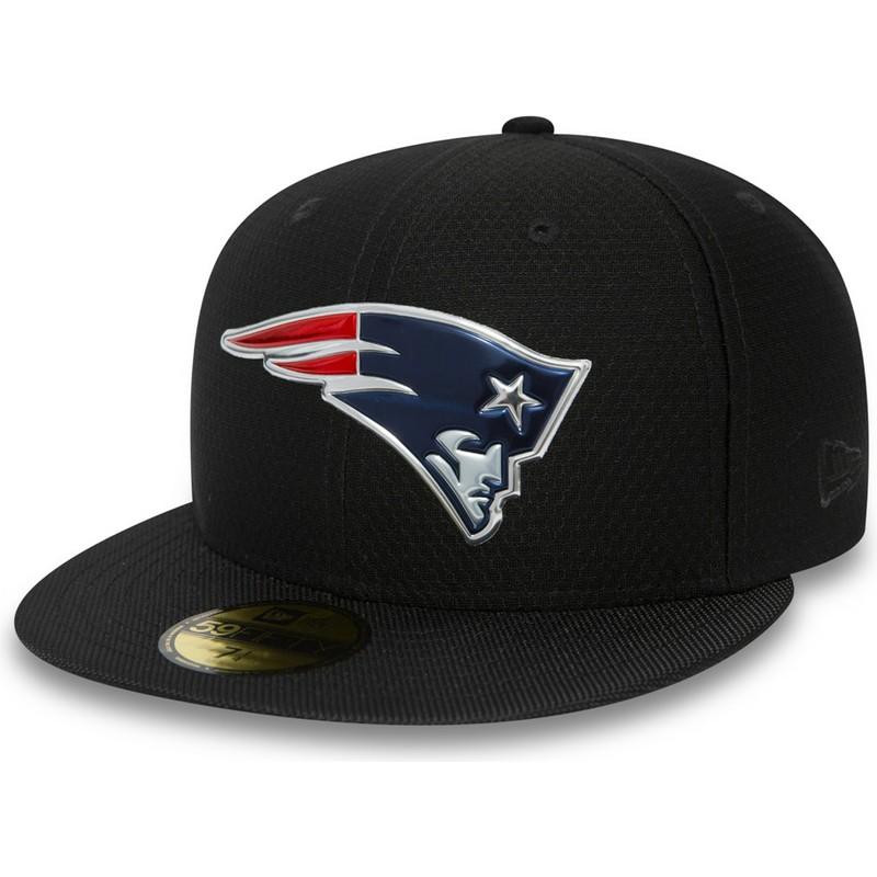 855b2ca5ab0 New Era Flat Brim 59FIFTY Black Coll New England Patriots NFL Black ...
