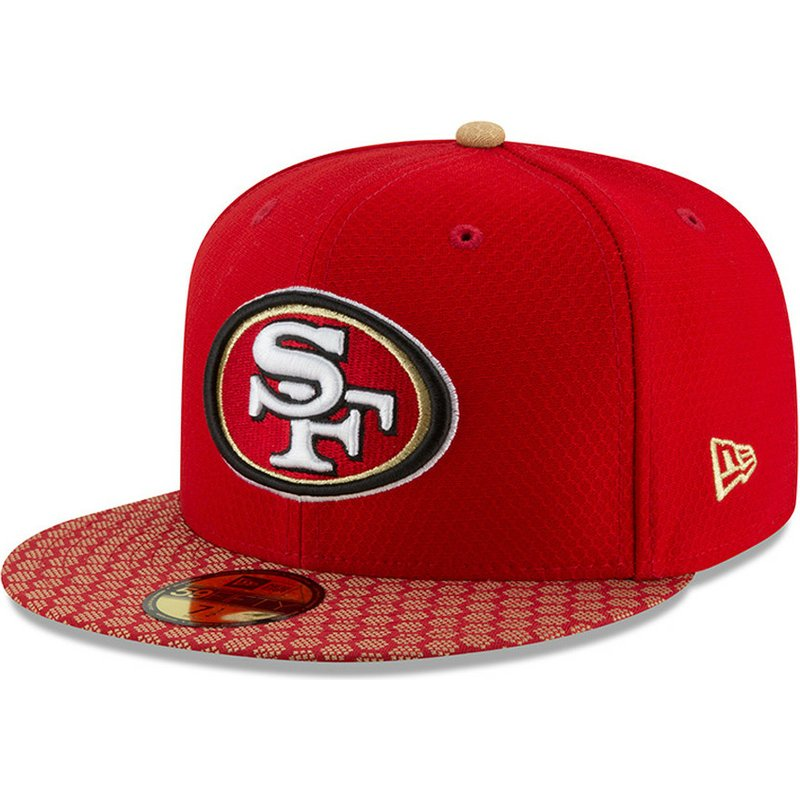 2f75b810 New Era Flat Brim 59FIFTY Sideline San Francisco 49ers NFL Red ...