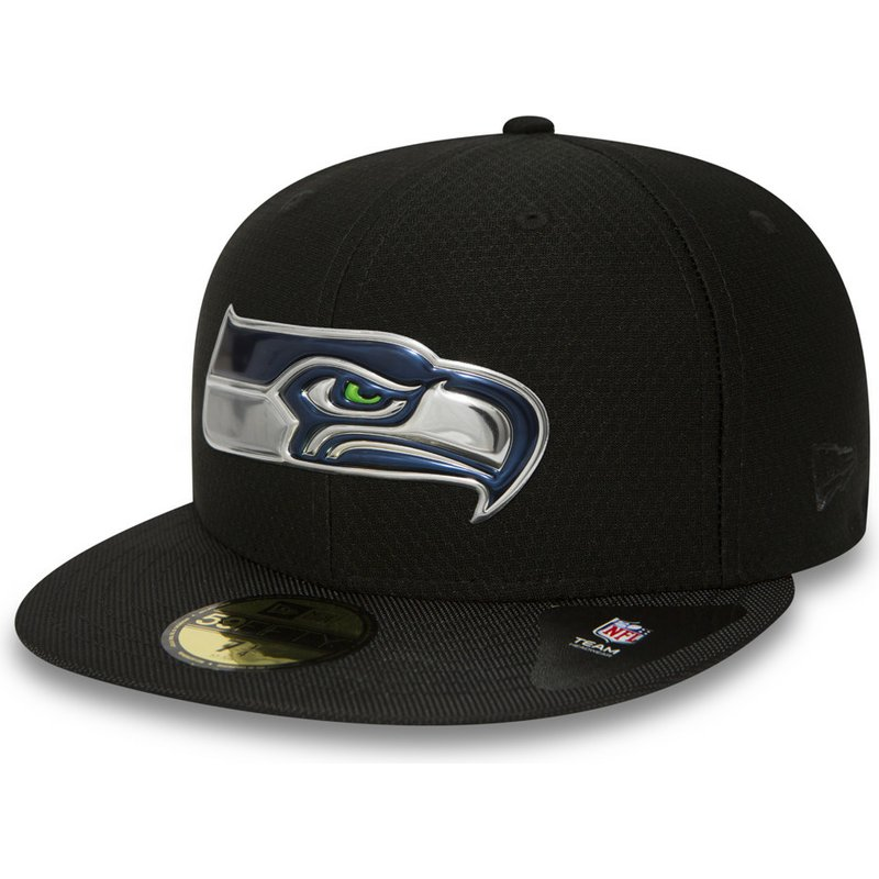 f9c09287e New Era Flat Brim 59FIFTY Black Coll Seattle Seahawks NFL Black Fitted Cap